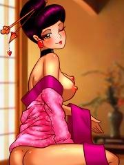 Geisha Shemale Threesome