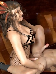 Two shemale strippers fuck him