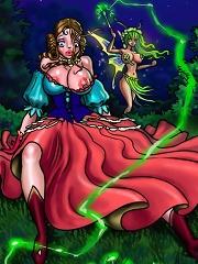 Shemale princess surprises sexy sprite orgy